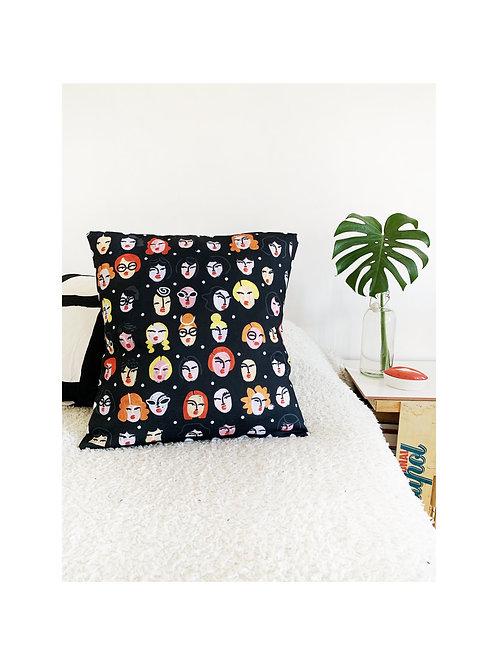 Cushion Cover Little Faces Black