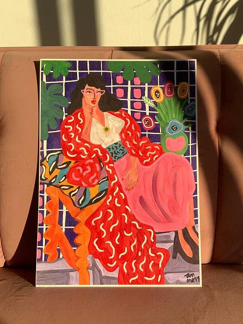 RED COAT (My version of H. Matisse) 30x42cm