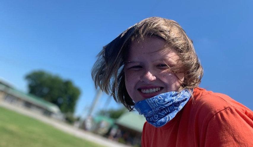 Smiling girl outside