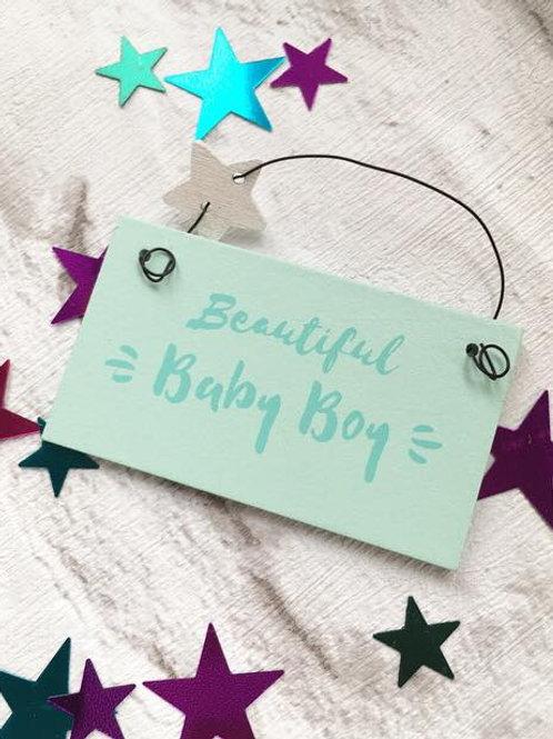'Beautiful Baby Boy' Sign