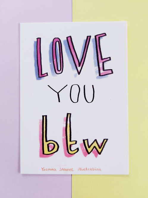 Love you btw postcard