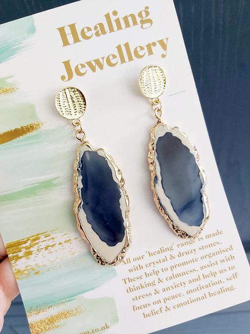 Geode Slice Drop Earrings