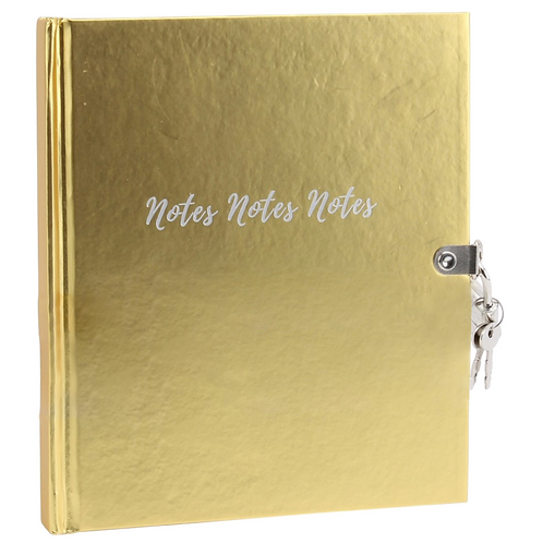 Gold Lockable Notes Notebook