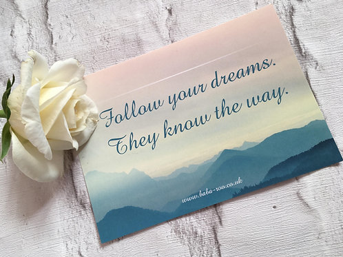 Motivational Postcard- Follow Your Dreams