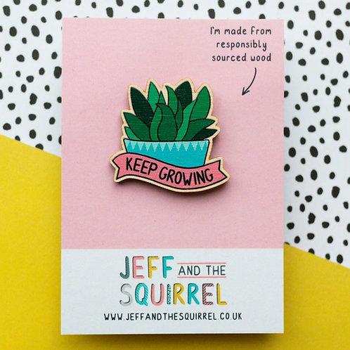 Jeff & Squirrel Keep Growing Wooden Badge