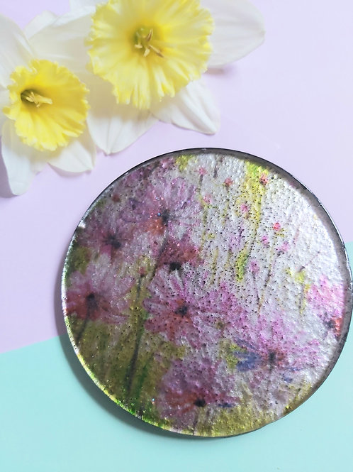 Floral Glass Circular Coaster