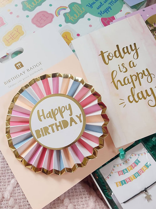 Pastel Happy Birthday Rosette