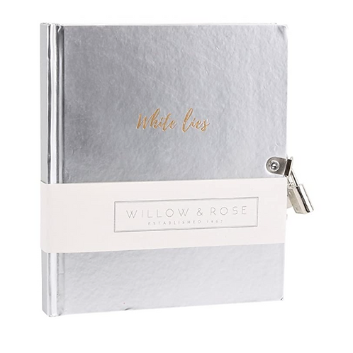 Silver Lockable 'White Lies' Notebook