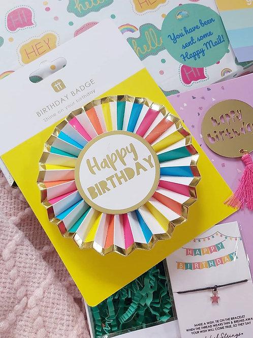 Rainbow Happy Birthday Rosette