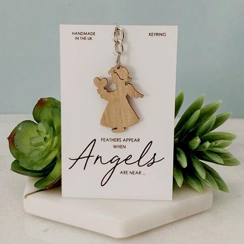 Angel Wooden Keyring