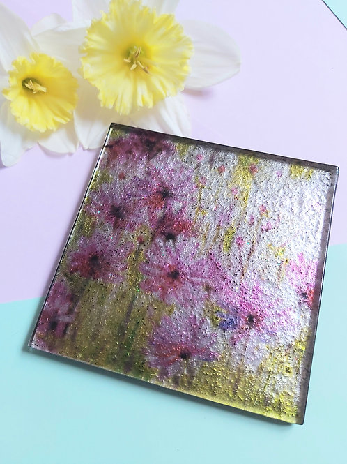 Floral Glass Square Coaster