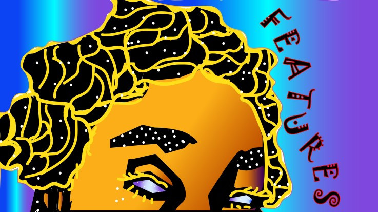 """Logo depicts a woman with bantu knotted hair peaking over at you with all seeing eyes. The image is gold-lined and accented with """"flares"""" and """"stars"""", insinuating a cosmic being."""