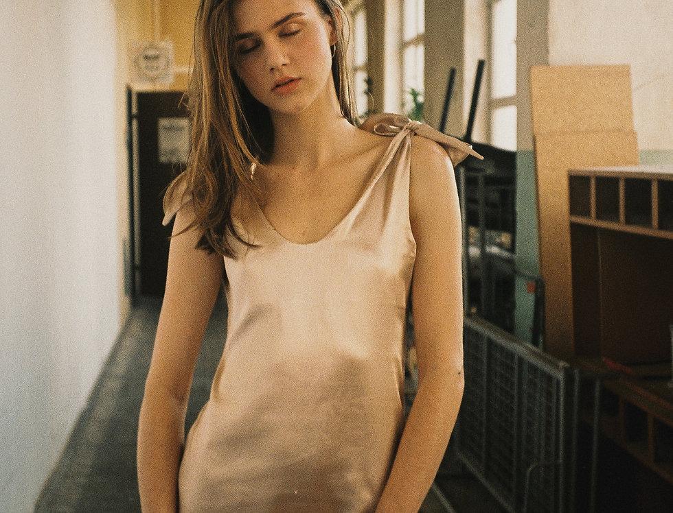 NODOBRA SATIN satynowa sukienka z wiązaniem koszula nocna loungewear