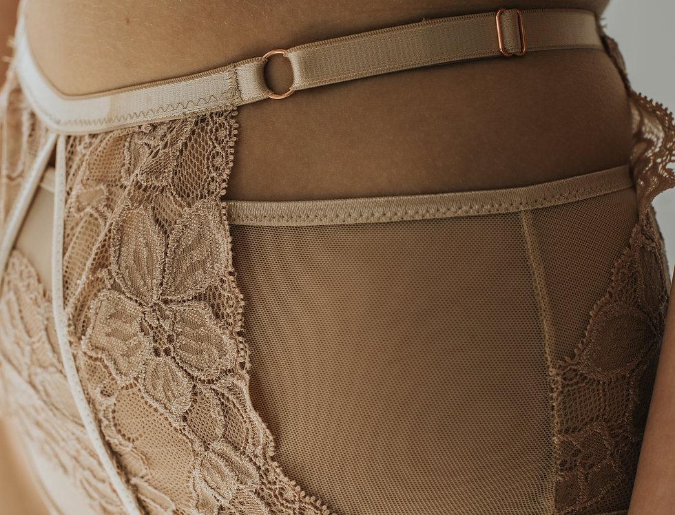 NODOBRA MOU majtki z regulacją w talii koronkowe z siatką transparentną
