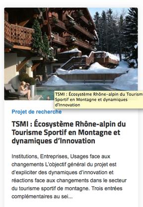 TSMI : Écosystème Rhône-alpin du Tourisme Sportif en Montagne et dynamiques d'Innovation