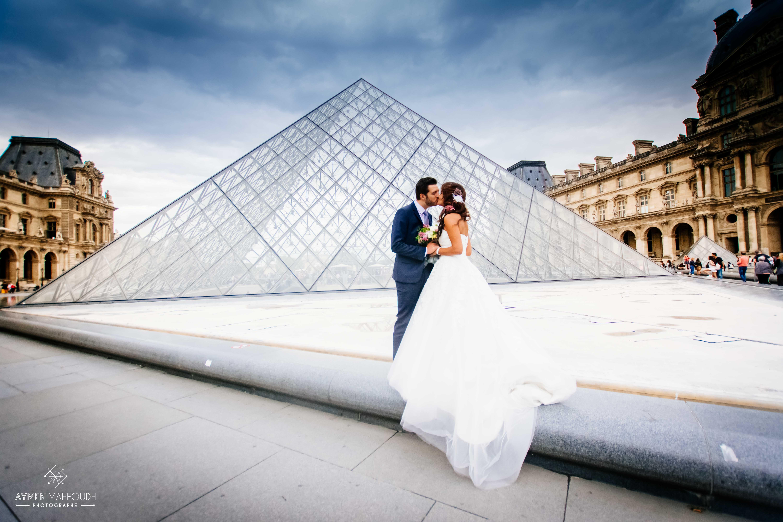 photo de mariage au Louvre