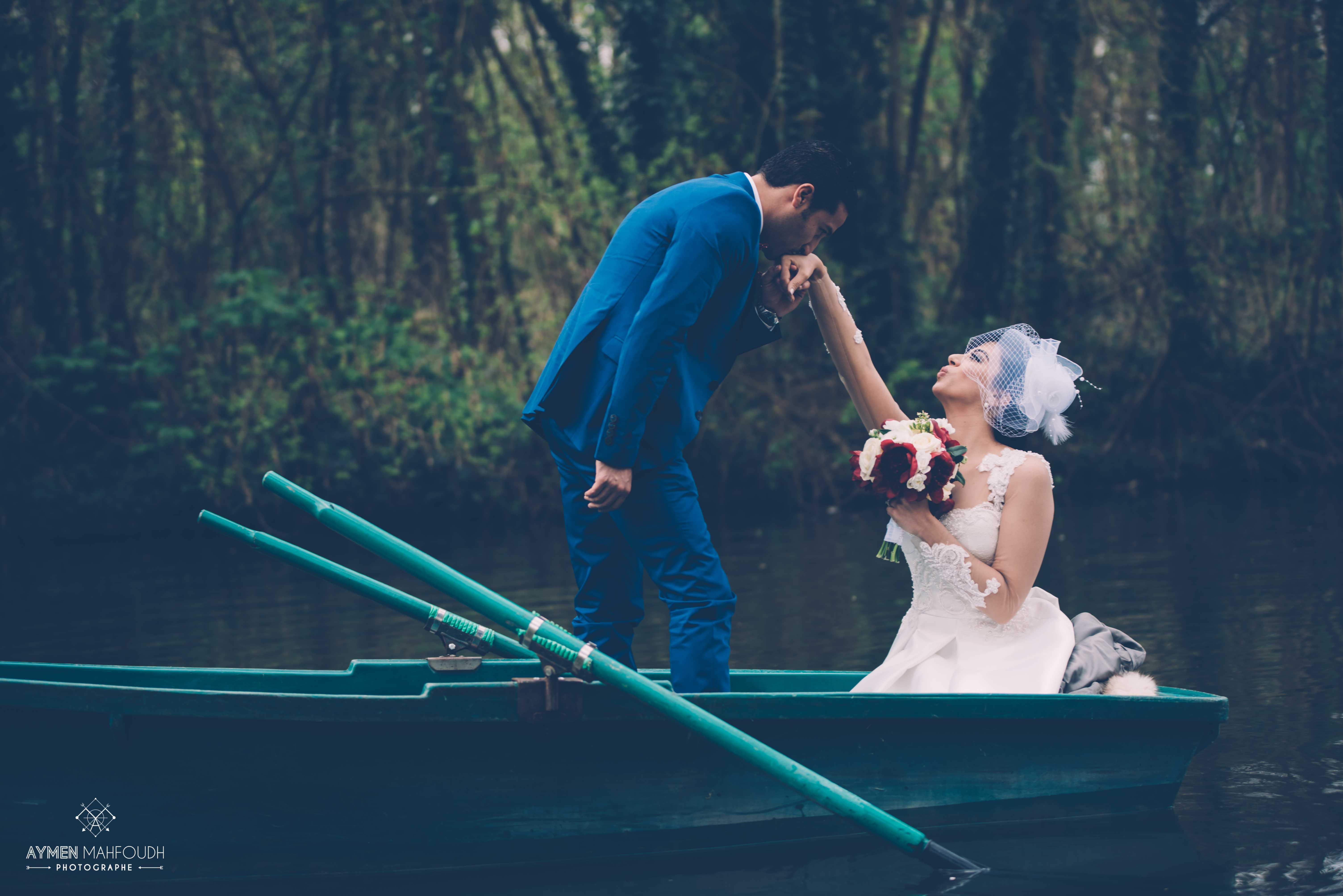 photo de mariage barque