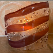 New votive with plum ripples and frit.