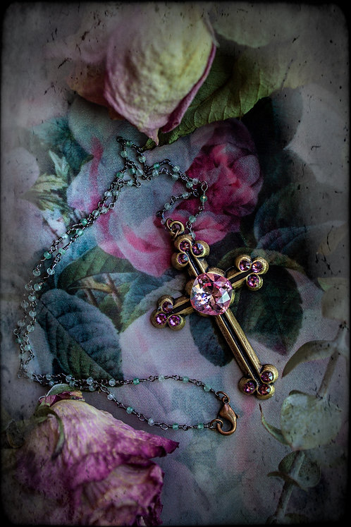 "The ""Camellia Cross"" Necklace"