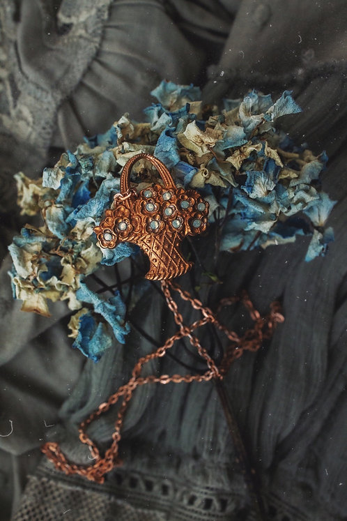 "The ""Opal Flowers"" Vintage Basket Necklace"