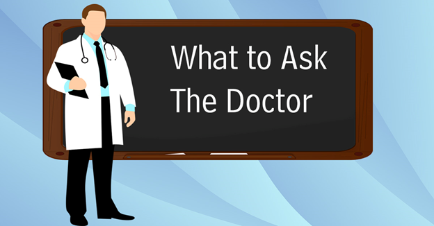 Checkup Questions. A cartoon picture of a doctor standing in front of a chalkboard.
