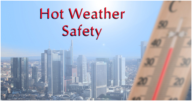Hot Weather Safety with a thermometer and a city with skyscrapers.