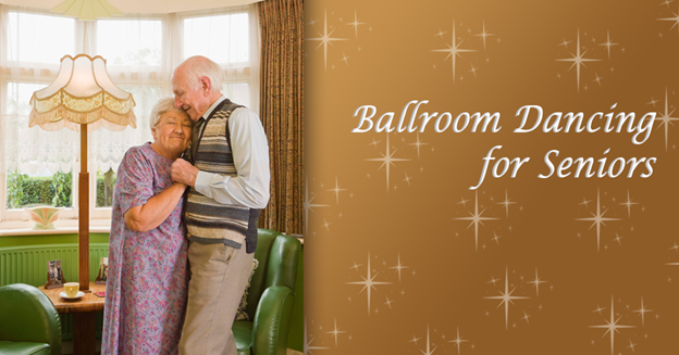 """Caucasian senior woman and man slow dancing inside a living room with text """"Ballroom Dancing for Seniors"""""""