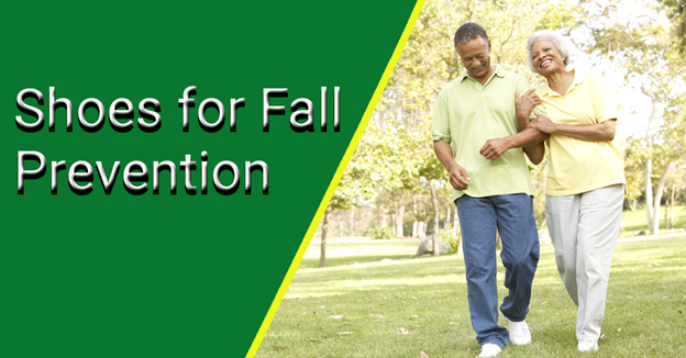 """An African-American man and woman walk in the park with text """"Shoes for Fall Prevention"""""""