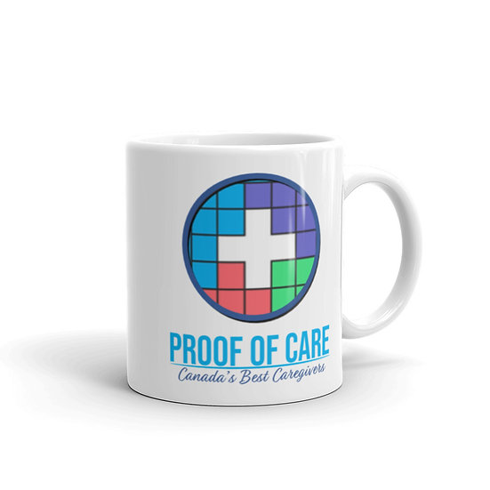 Proof of Care White glossy mug