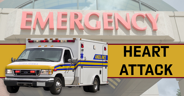 """An ambulance in front of a background of a hospital emergency entrance with text """"Heart Attack"""""""