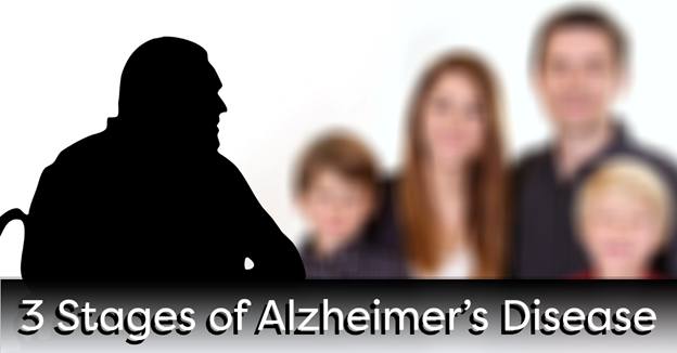 """A silhouette of an elderly man in front of a blurry image of a family with text """"3 Stages of Alzheimer's Disease"""""""
