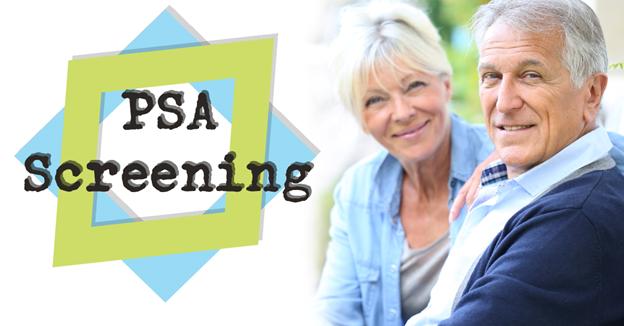 "Senior Caucasian woman and man with text ""PSA Screening"""