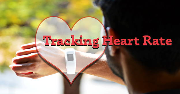 """Man checking a fitness tracking watch with text """"Tracking Heart Rate"""""""