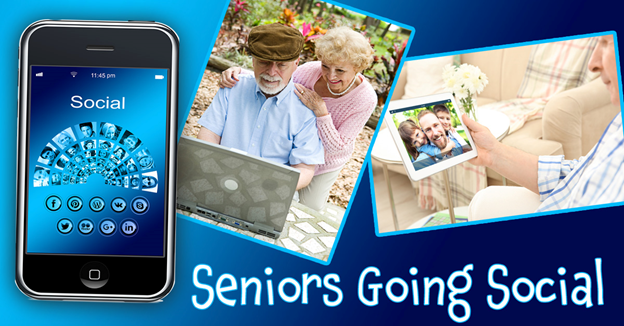 """A cell phone and image collage of people using technology with text """"Seniors Going Social"""""""