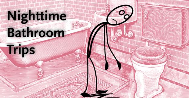 "Illustration of stick figure inside bathroom with text ""Nighttime Bathroom Trips"""