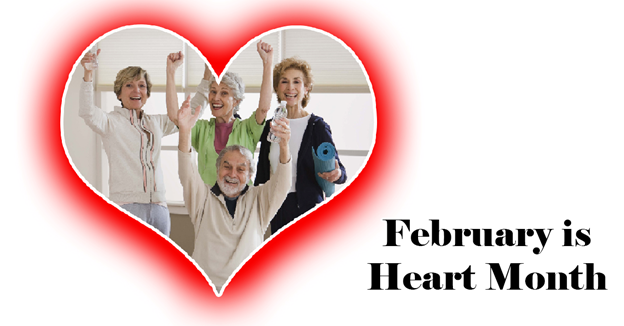 """A group of seniors inside a heart shape with a red glow around it with text """"February is Heart Month"""""""