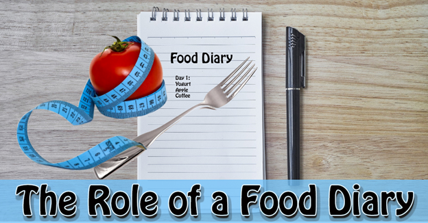 """A notepad with a list of food items written on it, an ink pen, a fork, and an apple with measuring tape around it with text """"The Role of a Food Diary"""""""