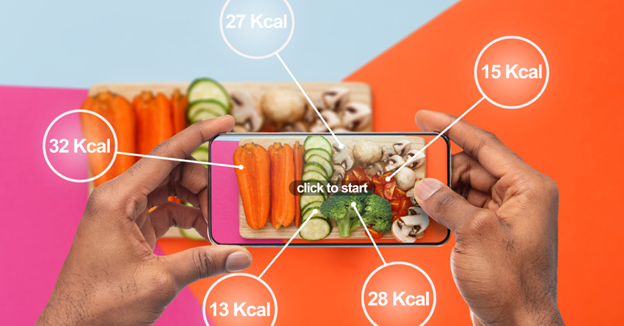 """A person holding a smartphone over a plate of vegetables with text """"Smartphone Apps for Weight Loss"""""""