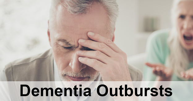 """Caucasian man placing hand on face with text """"Dementia Outbursts"""""""