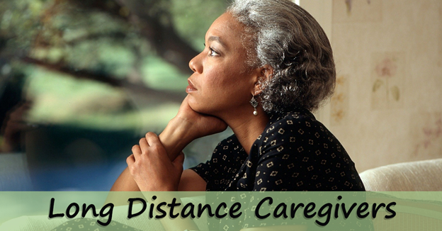 """Senior African American woman with text """"Long Distance Caregivers"""""""