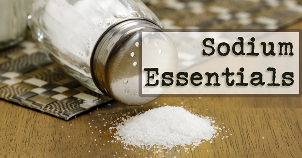 """Turned over salt shaker with spilled salt with text """"Sodium Essentials"""""""