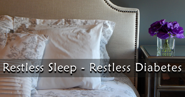 """A bed with pillows and a vase with flowers on top of dresser with text """"Restless Sleep - Restless Diabetes"""""""