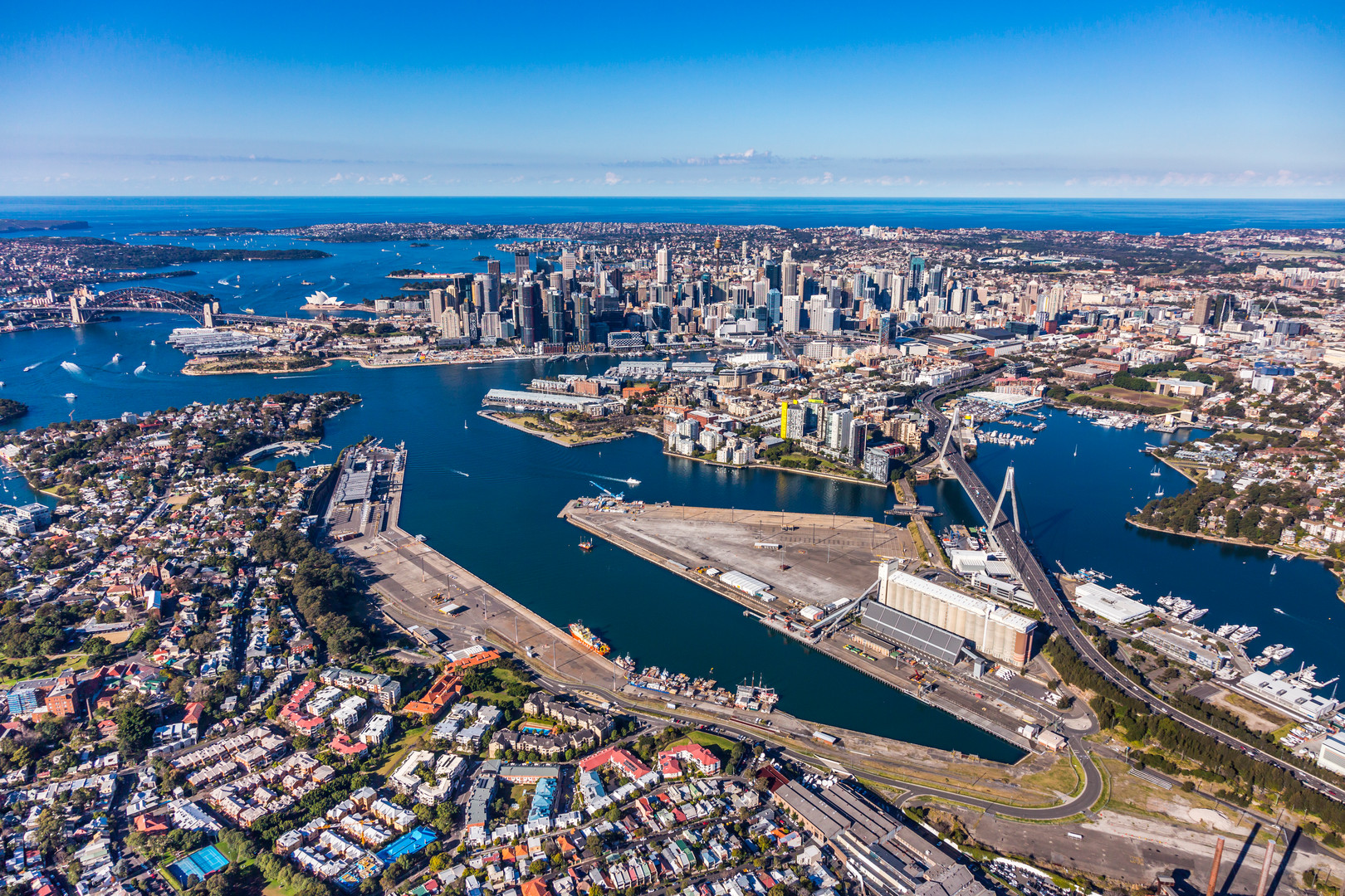 Aerial view of Glebe Island with view of city
