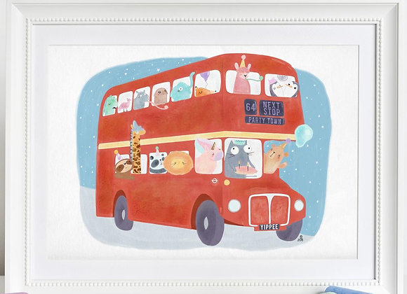 Party Zoo Bus Print