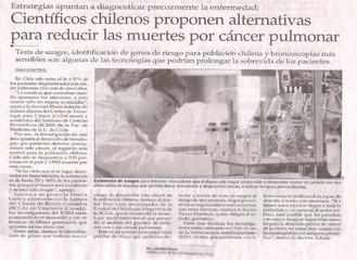 Científicos chilenos proponen alternativas para reducir muertes por cáncer pulmonar