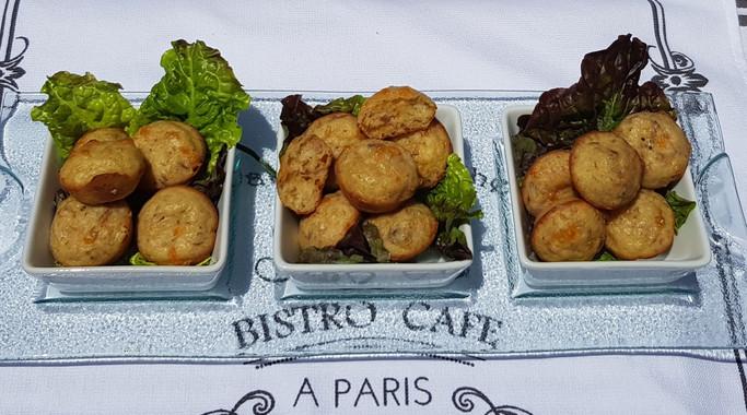 Tuna and cheese Clafoutis (no crust): $1.50 each (Minimum order of 30)