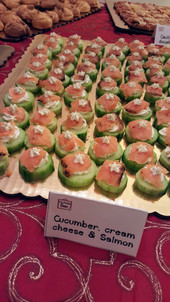 Cucumber, salmon and cream cheese : $65 for 50 pieces