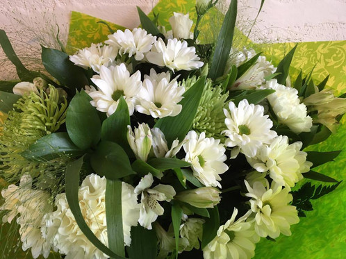 Fresh kelly anns flowers newquay deliverieswedding funeral a long lasting mixture of green and white flowers arranged in a handtied bouquet in water flowers may vary mightylinksfo