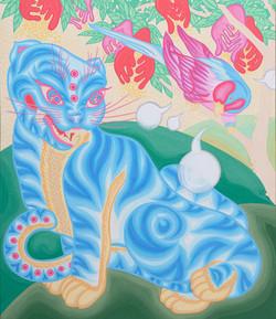 Tiger & Parrot_순지5배접,채색_72.7X60.6cm_2009