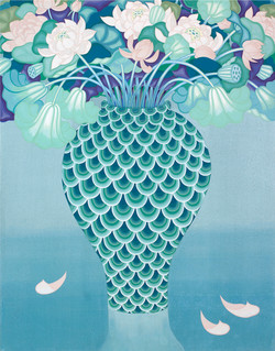lutuses in the green vase_116.7x90.9cm_순지5배접,채색_2011